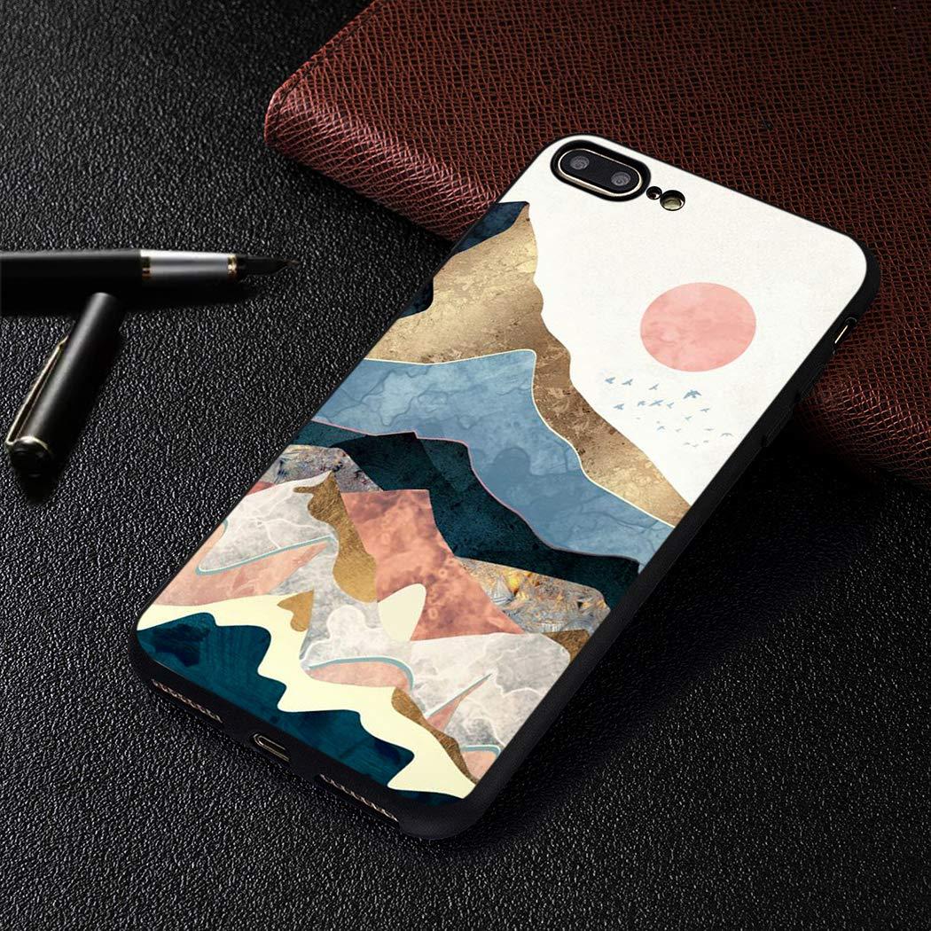 EUCase Funda para iPhone 8 Plus Silicona Antigolpes Dibujos Carcasa iPhone 7 Plus Suave TPU Flexible Goma Mate Ultra Delgada Cubierta Protector Bumper Case Caja Tapa Carcasa Figura de Palo