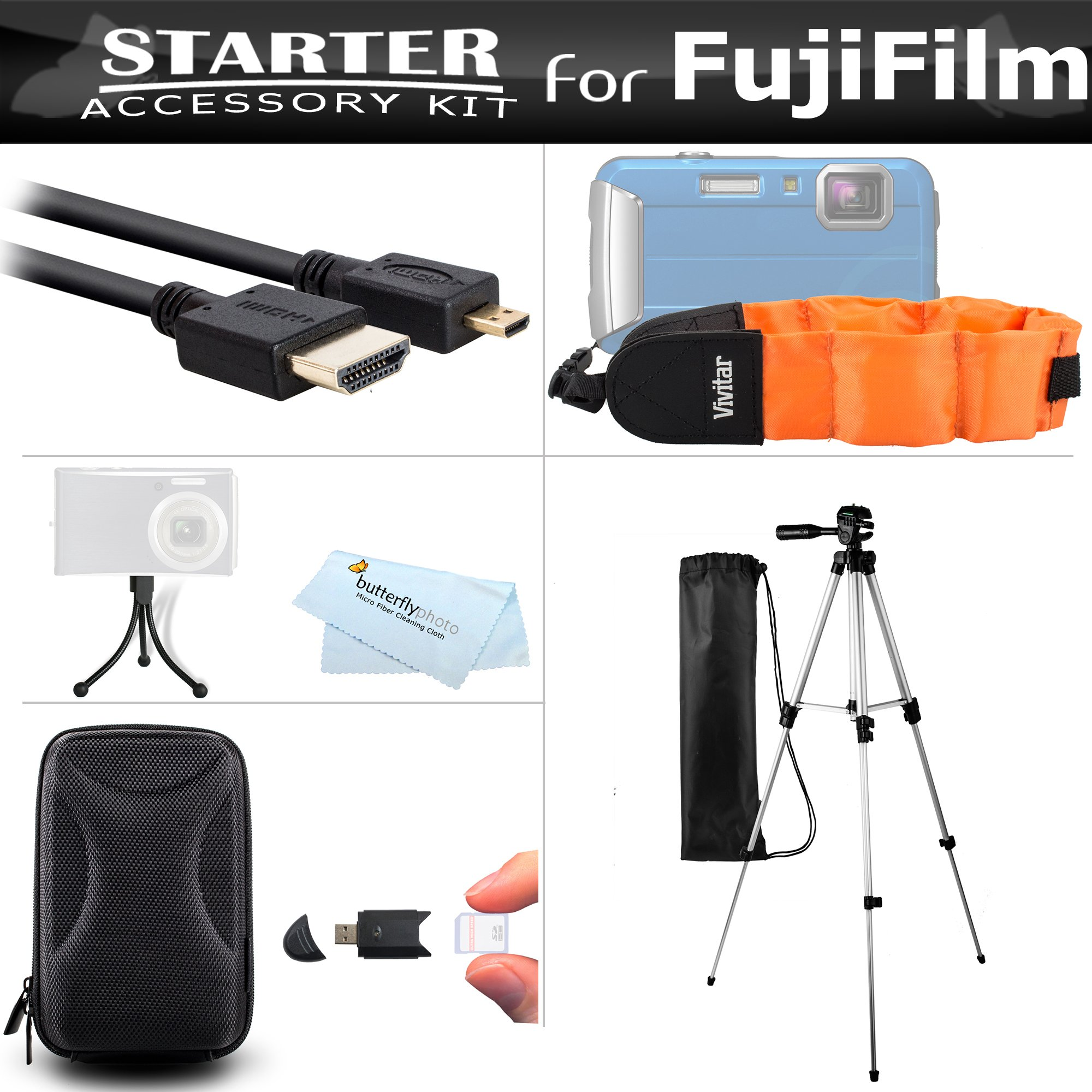 Starter Accessories Kit For The Fuji Fujifilm FinePix XP70, XP80, XP90, XP120 Waterproof Digital Camera Includes Carrying Case + 50'' Tripod W/Case + Micro HDMI Cable + Float Strap + Mini Tripod + More