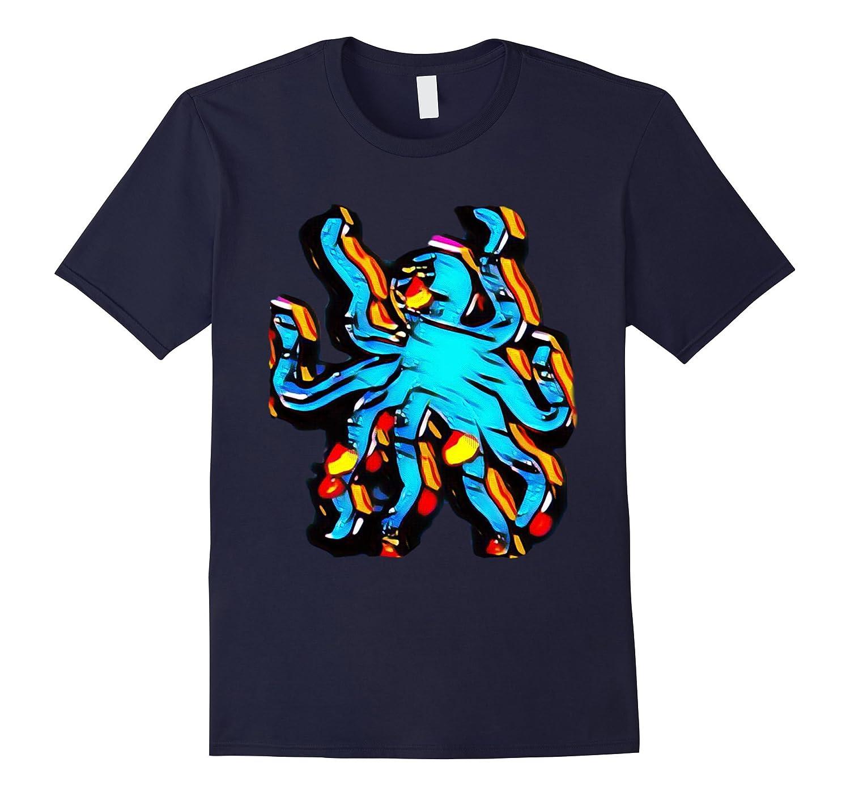 Abstract Octopus Art Design T-Shirt, Kraken Sea Monster Tee-TH