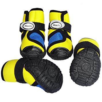 Amazon.com   Hiado Small Dog Shoes Pet Boots with Mesh and Antislip Rubber  Soles All Weather for Dogs Hiking Running Walking XSmall Yellow Xs Size 45    Pet ... d7f09a985