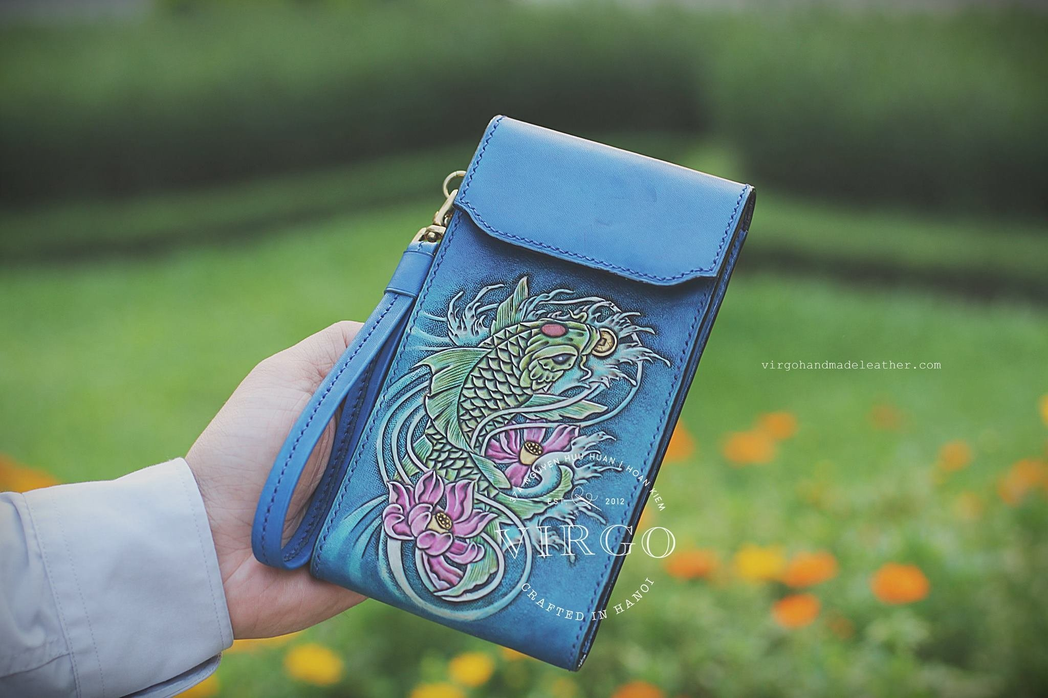 Koi Fish hand tooled phone cover with detachable wrist strap for women | Personalized Vintage vegetable tanned leather handmade cover