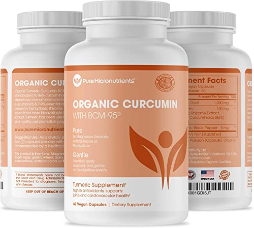 Pure Turmeric Curcumin BCM-95 1000mg Supplement Black Pepper, Organic, Vegan, 60 Veg. Capsules, Pure Micronutrients