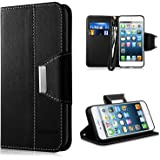 iPhone SE Custodia - Vakoo iPhone 5S Cover flip a portafoglio in pelle sintetica premium Protettiva Custodia per Apple iPhone 5/5S/SE (Nero)
