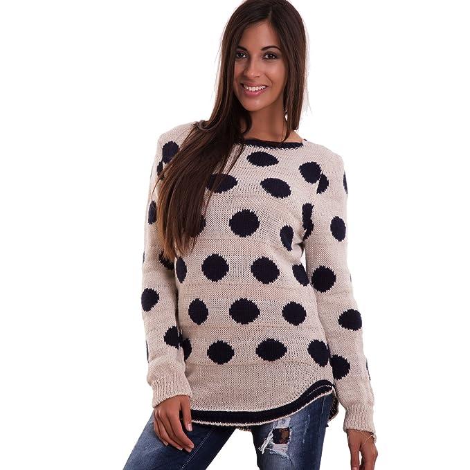sito affidabile c6dc0 ad1db Toocool - Maglione Donna Pullover Pois Maglia Maniche Lunghe Lana Sexy  Nuovo CJ-1869