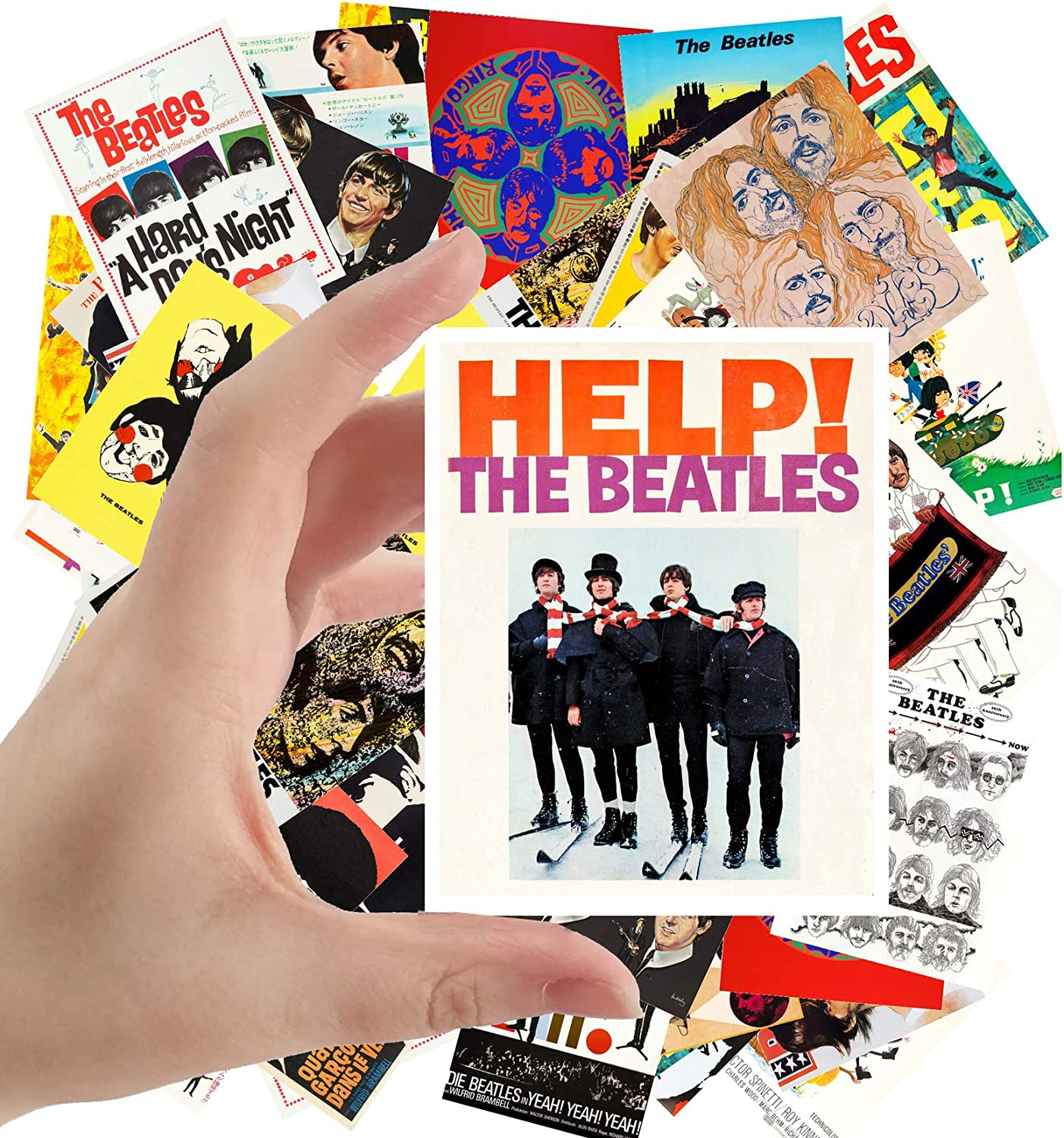 "Large Stickers (24pcs 2.5""x3.5"") BEATLES Posters Photos Vintage Magazine covers Rock Music Classic"