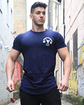 200d266ca1bf0 Muscle Works Gym T-shirt Gym Training T-shirts Mens NAVY BLUE