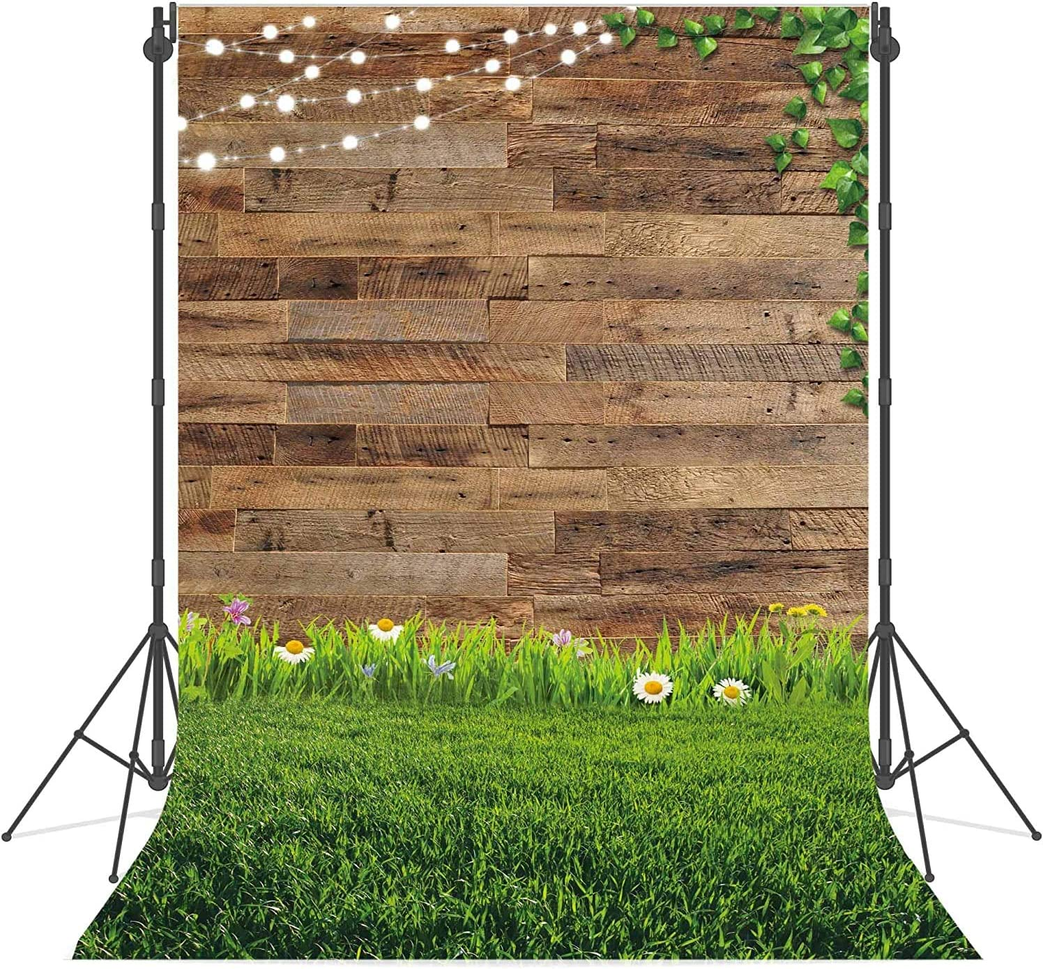 Haboke 5x7ft Soft Fabric Spring Rustic Wood Photography Backdrop Flower Grassland Newborn Baby Shower Photoshoot Background Party Decor Family Portrait Photo Booth Props