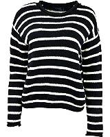 Polo Ralph Lauren Women's Long Sleeve Pull over stripped Sweater Black Cream L