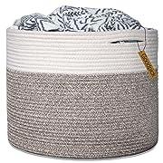 Goodpick Large Cotton Rope Basket 15.8 x15.8 x13.8 -Baby Laundry Basket Woven Blanket Basket Nursery Bin