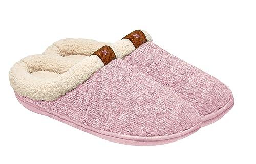 Adrienne Vittadini Women s Comfort Padded Memory Foam Sherpa House Slipper  w Slip-Resistant Rubber Sole 6c974eba5