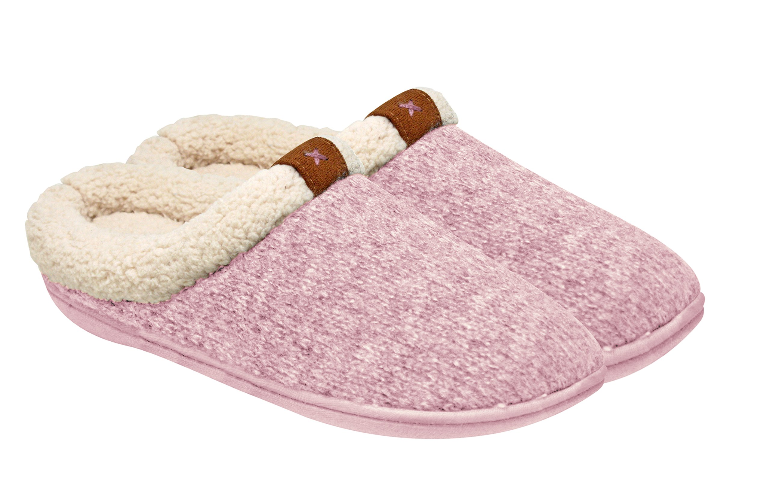 Adrienne Vittadini Women's Comfort Padded Memory Foam Sherpa Clog Slipper with Slip-Resistant Rubber Bottom Sole   Indoor/Outdoor, Pink, Small-Medium / 6-8 B(M) US