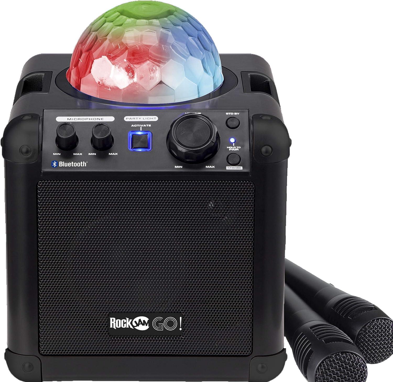 RockJam RJGO BK GO Rechargeable Bluetooth Karaoke Speaker With Light Show & Microphone, Black