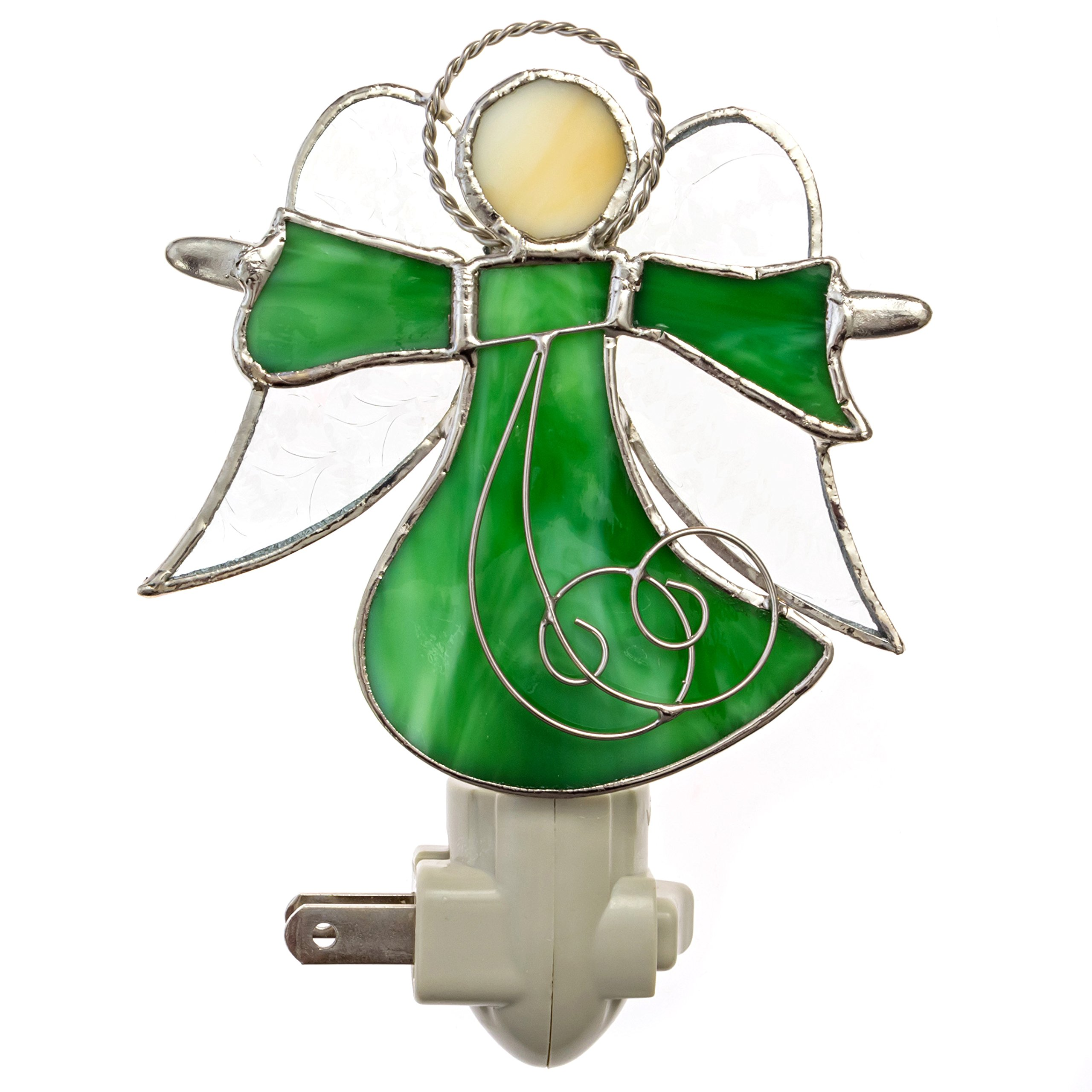 Green Angel Night Light by Everyday Beautiful Gifts: Colorful Stained Glass Nightlight, Functional Art, Elegant Home Decoration, Guardian Angel Design, Gift Idea for Every Occasion