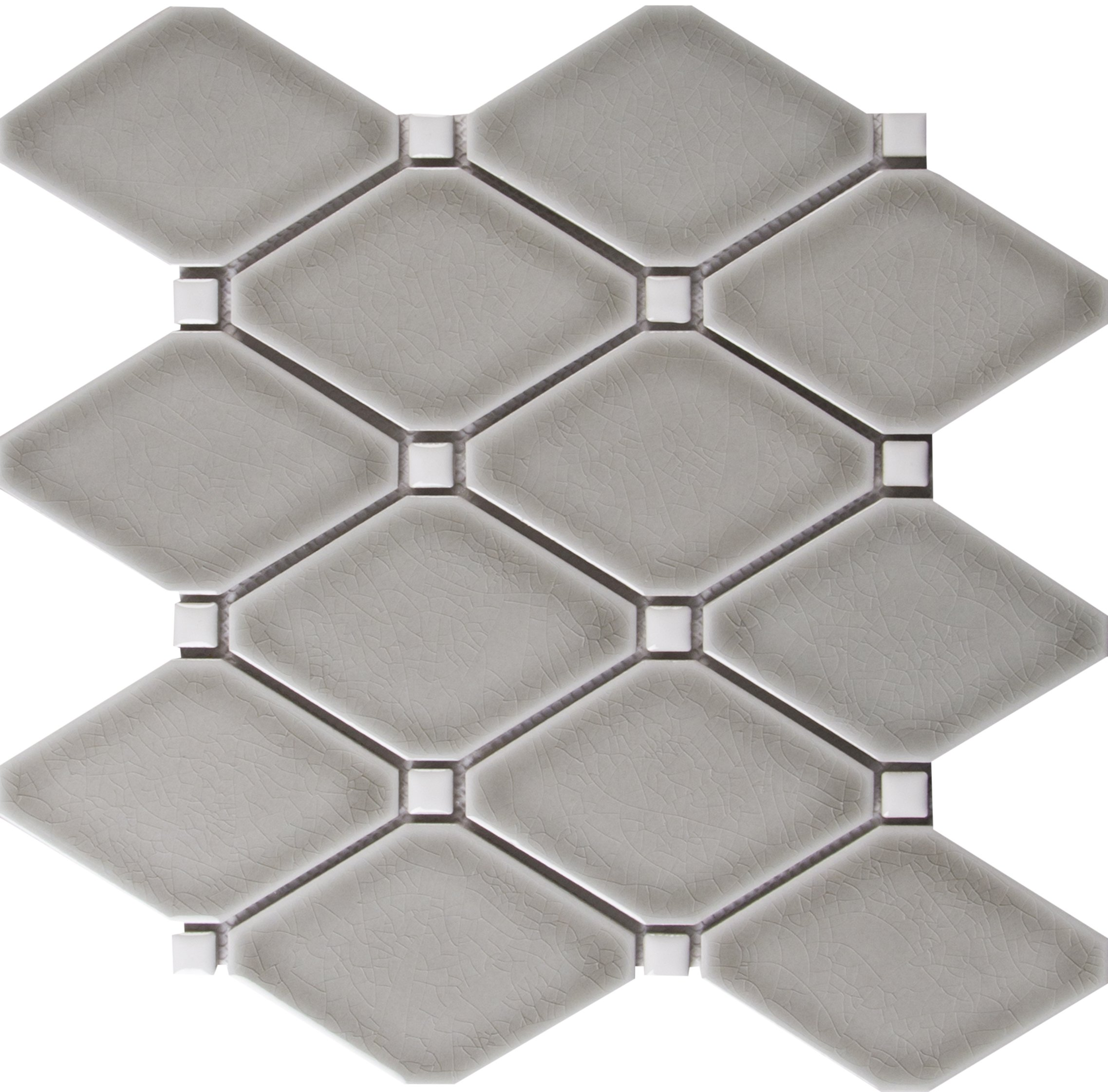 M S International Diamond Dove Gray 12.28 In. X 12.8 In. X 8 mm Glazed Ceramic Mesh-Mounted Mosaic Tile, (10.9 sq. ft., 10 pieces per case)