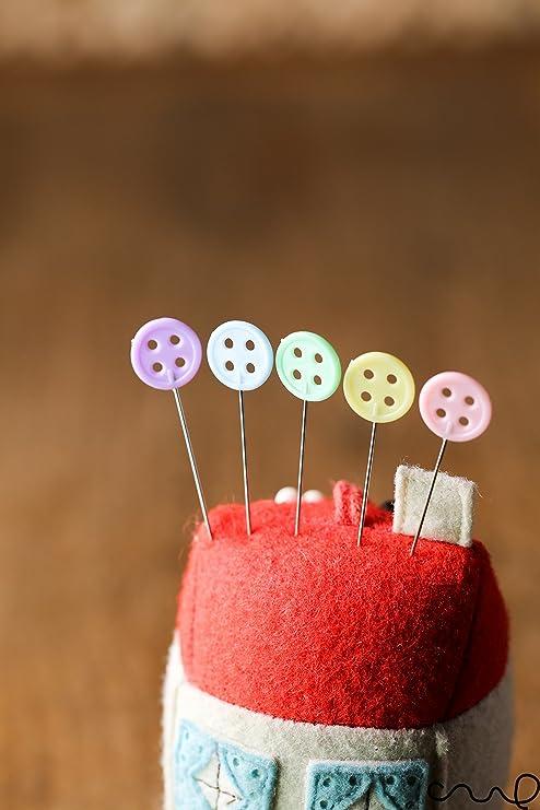Kit de alfileres de cabezal plano con botones para costura, hacer ...