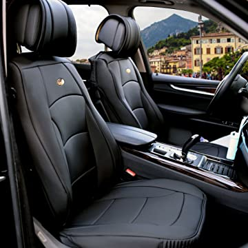 reliable FH Group PU205SOLIDBLACK102 Solid Black Ultra Comfort Leatherette Front Seat Cushion