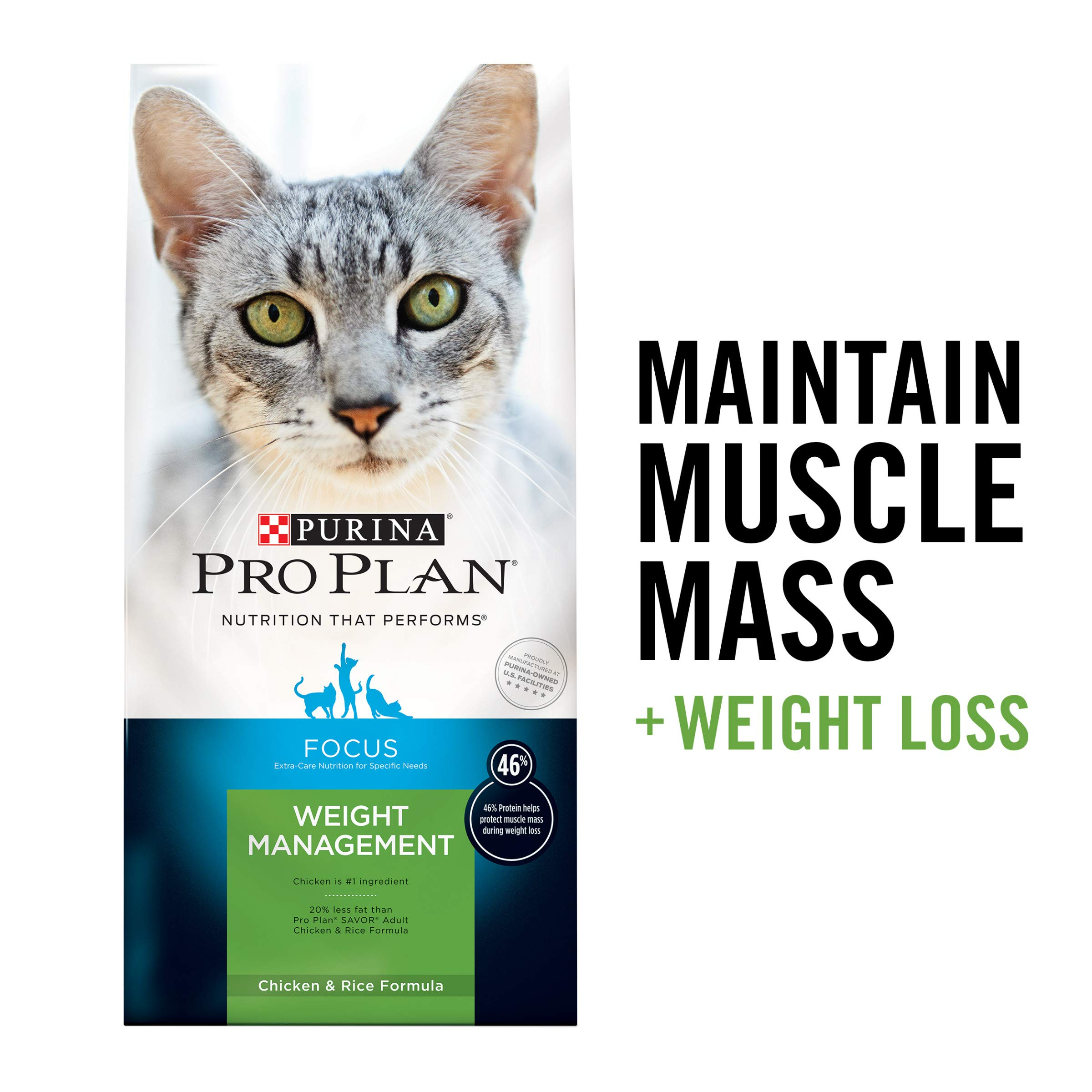 Purina Pro Plan Weight Control High Protein Dry Cat Food, FOCUS Weight Management Chicken & Rice Formula - 16 lb. Bag by PURINA Pro Plan