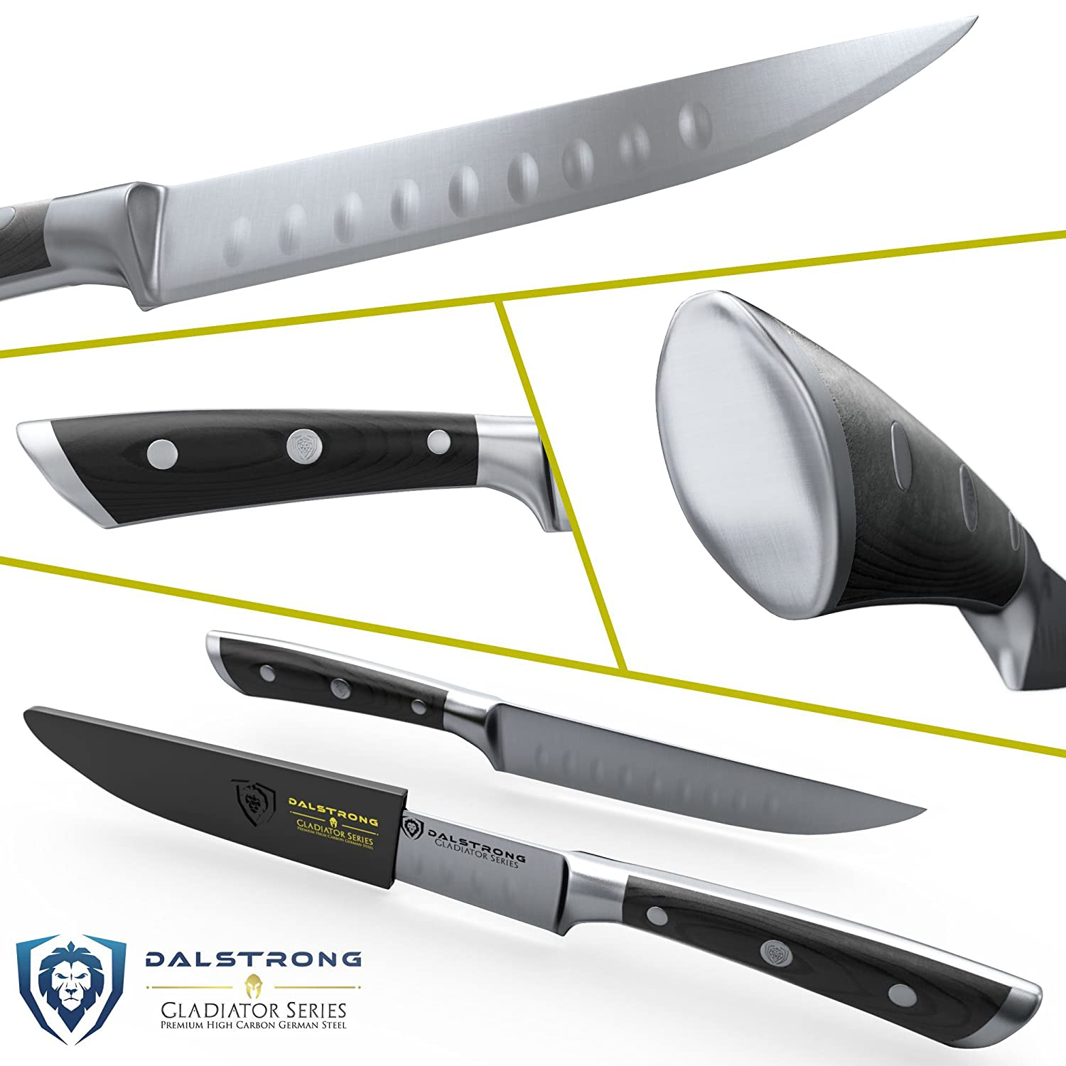 DALSTRONG Steak Knives Set  Gladiator Series  Straight Edge  German HC Steel  wSheaths