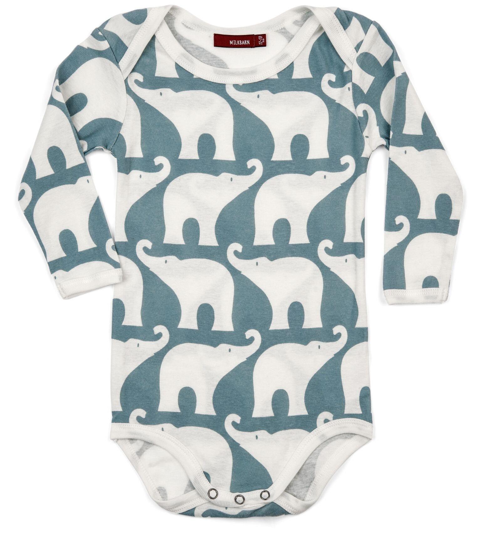 Milkbarn Long Sleeve One Piece Organic Onesie - Blue Elephant (6-12 month)