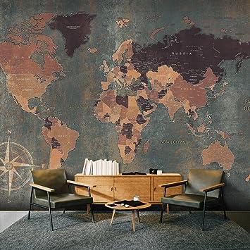 Murando   Fototapete Weltkarte 350x256 Cm   Vlies Tapete   Moderne Wanddeko    Design Tapete