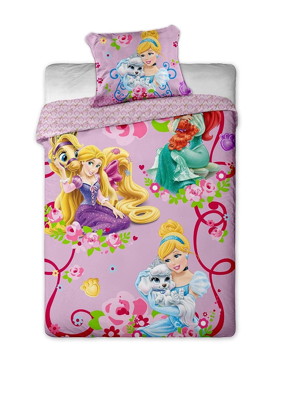 Cama de mar Funda n/órdica Funda de Almohada LesAccessoires Juego de Ropa de Cama de 3 Piezas de Disney Princesas Ariel s/ábana Bajera Ajustable 100/% algod/ón