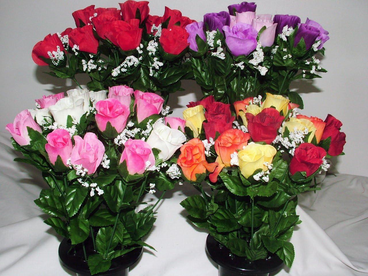 inserto per vaso commemorativo Mazzo di rose finte arancioni e gialle vaso per tomba con 16/fiori