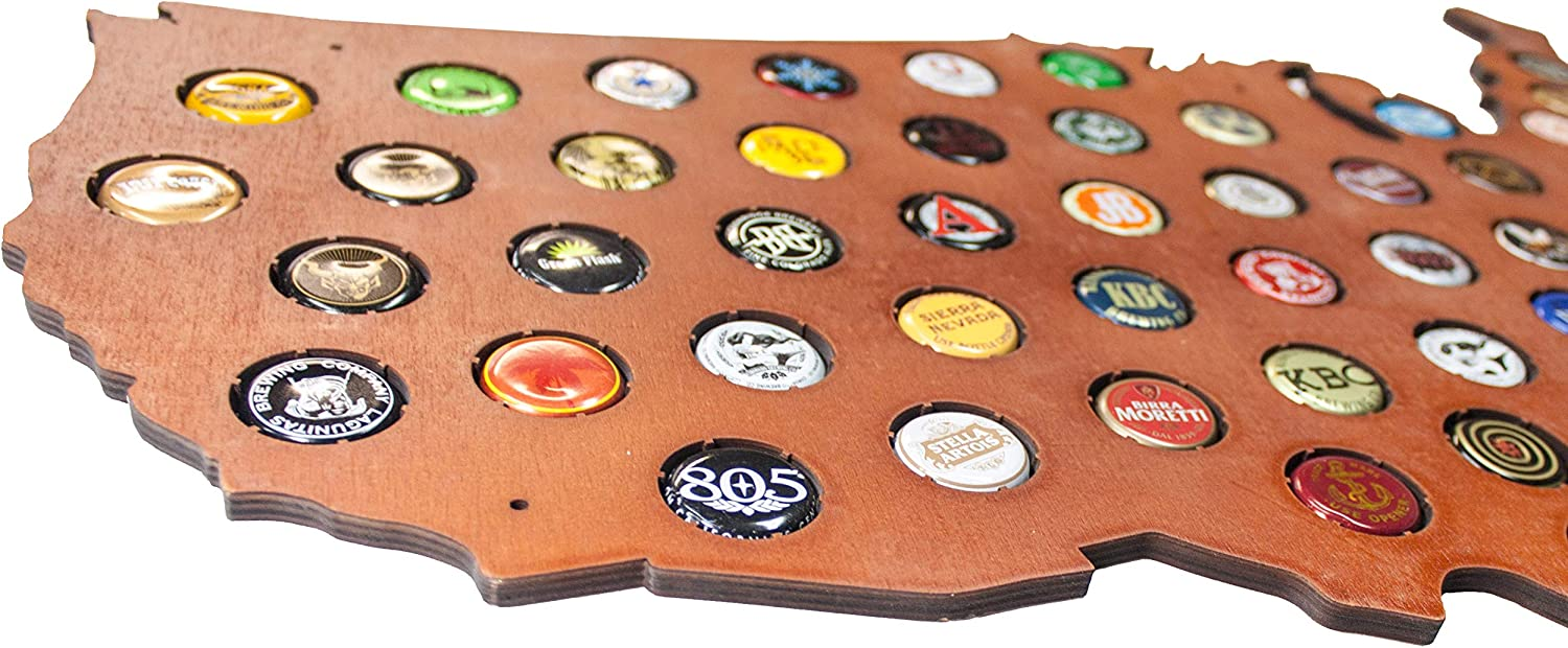Home Wet Bars Craft Beer Bottle Caps Holder and Beer Lovers Fathers USA Beer Cap Map with Cherry Stain Man Cave Decor Beer Accessories for Men Brothers