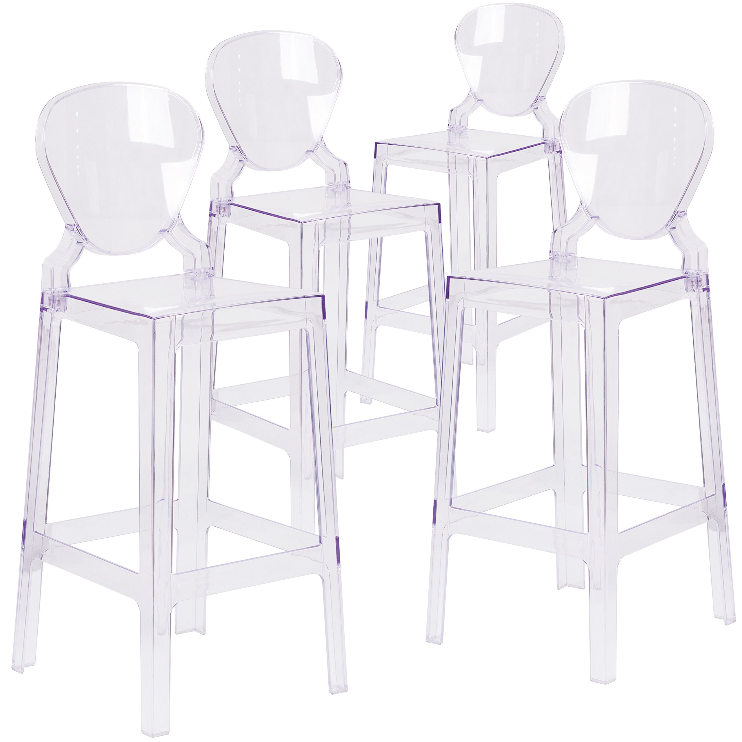 Flash Furniture 4 Pk. Ghost Barstool with Tear Back in Transparent Crystal by Flash Furniture