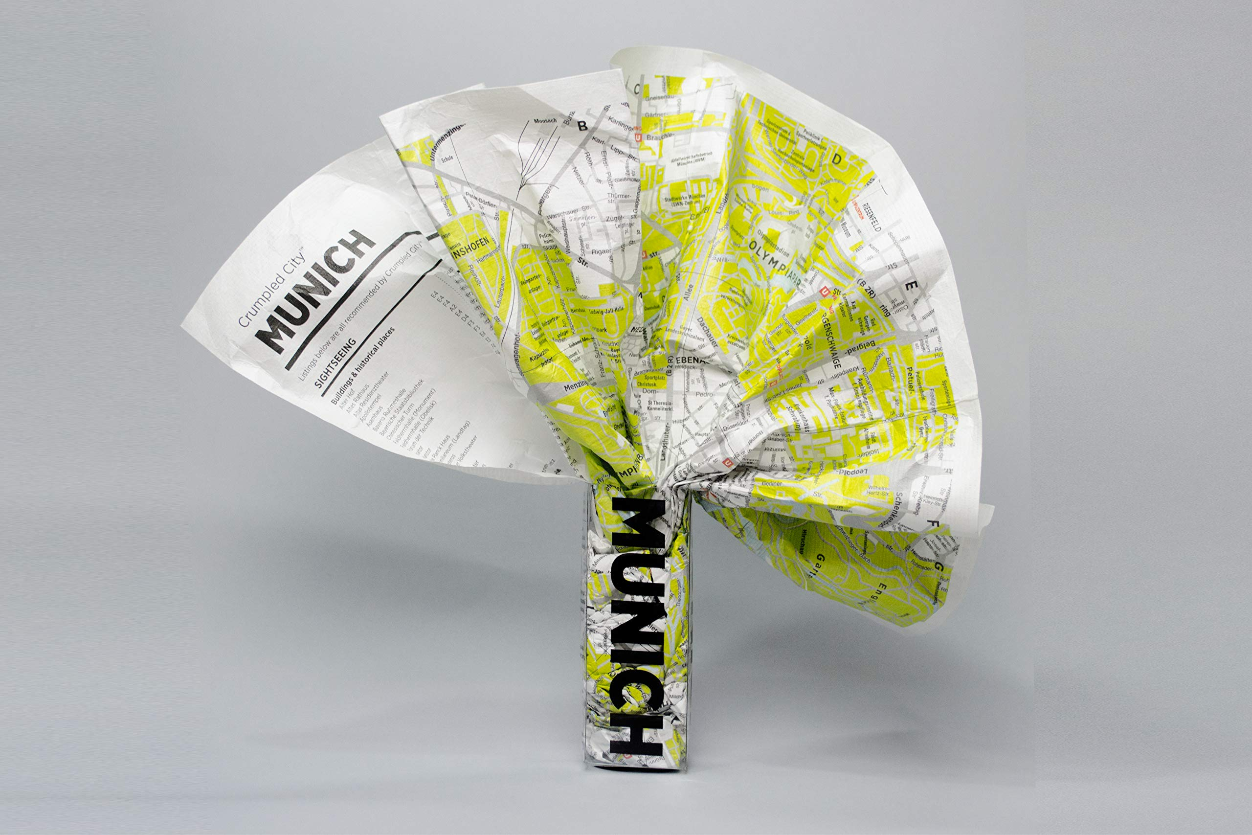 Crumpled City Map-Munich Map – January 1, 2011