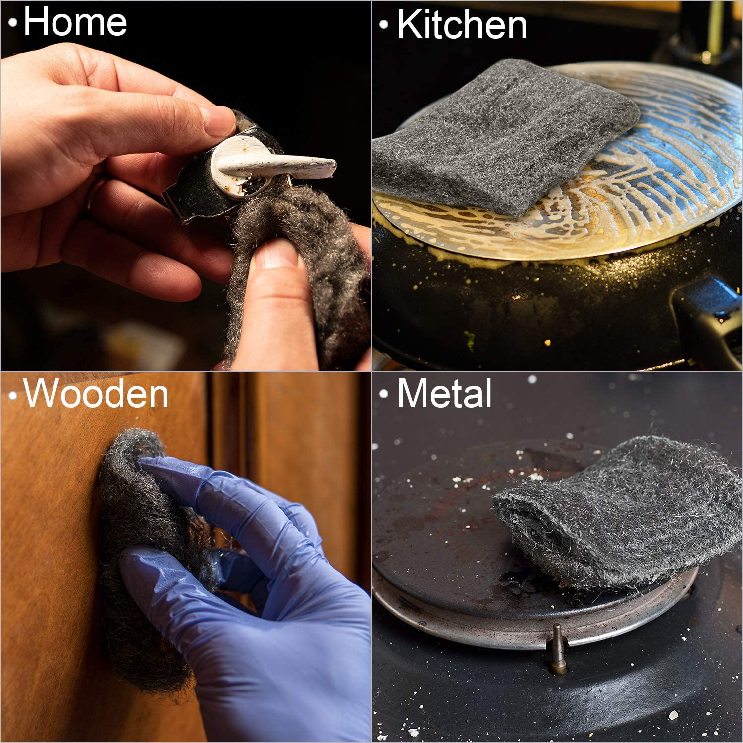 Cleaning and Polishing Kitchen 1 URATOT Steel Wire Wool 0000 Ultra Fine Grade Steel Wool Cleaning Tool Polishing Wire Wool Pads for Home