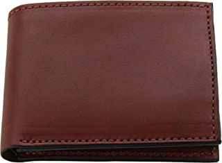 product image for Premium Full Grain Bridle Leather Men's Bifold Wallet – Medium Brown – - Made in USA