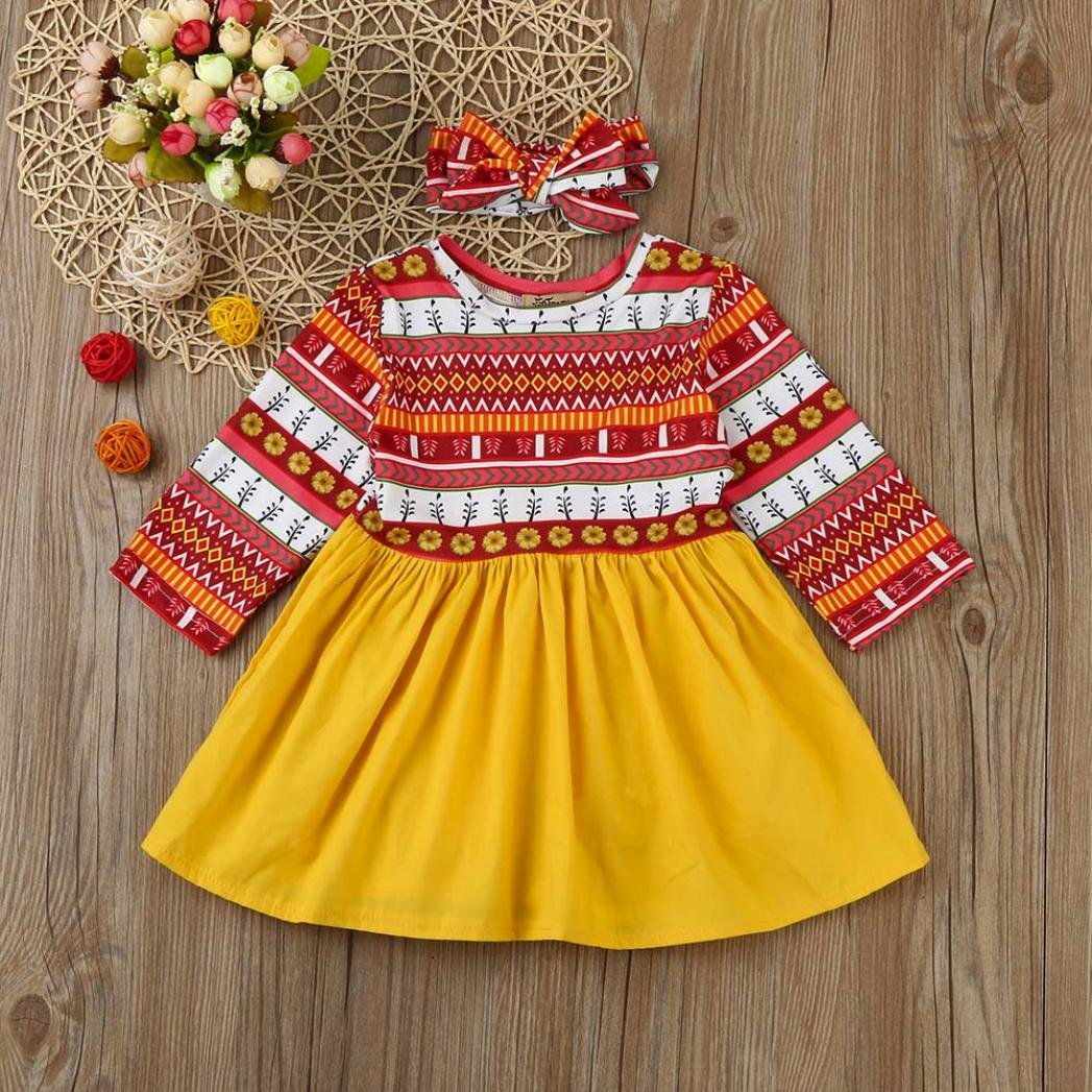 6-12 Months, Multicolor Gotd 2PCs Toddler Kids Baby Girl Floral Print Dress+Headband Outfits Clothes Set Long Sleeve