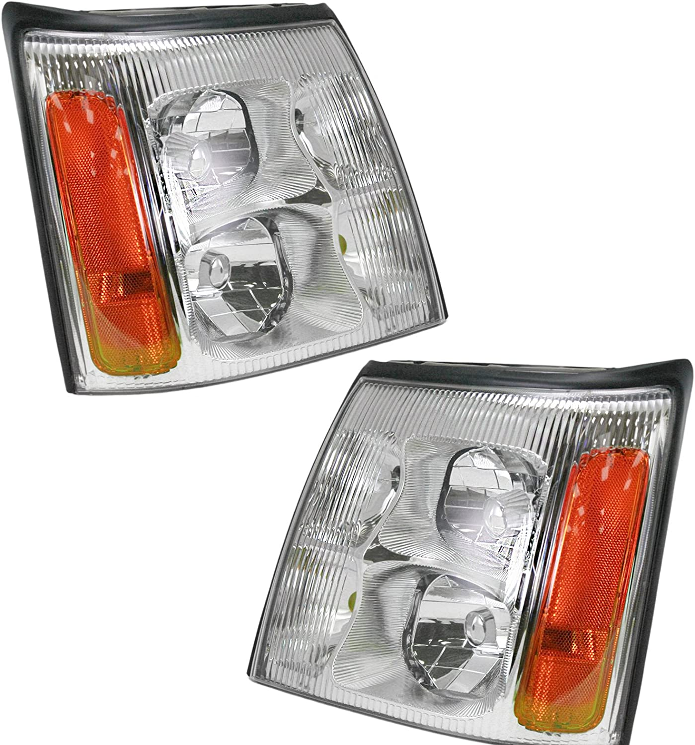 Cadillac 03-06 Escalade Base//ESV//EXT Black Housing Replacement Headlights Pair