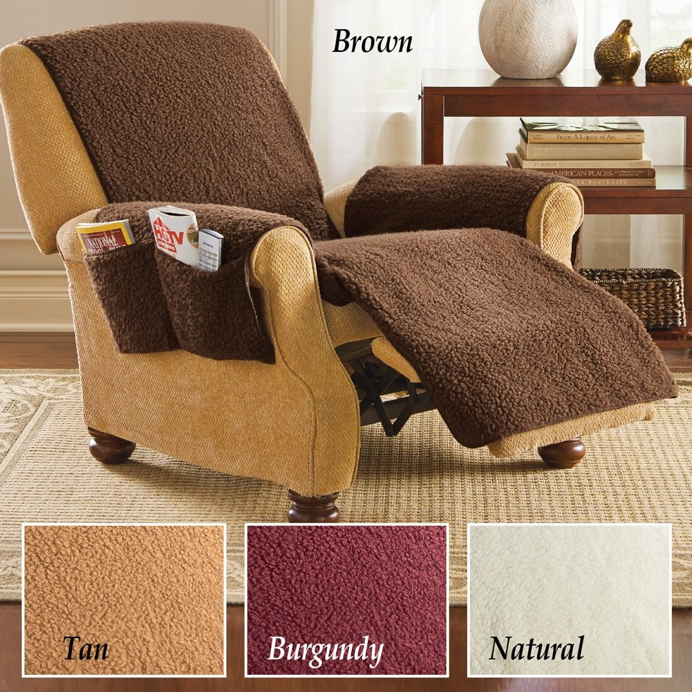 Amazon.com: Fleece Recliner Furniture Protector Cover With Pockets,  Burgundy: Kitchen U0026 Dining