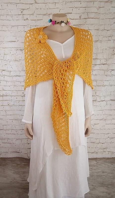 Chal de algodón para mujer hecho a mano en color amarillo,Tejido a ...