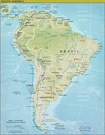 Amazon.com: Map Poster - South America Physical Map 24\