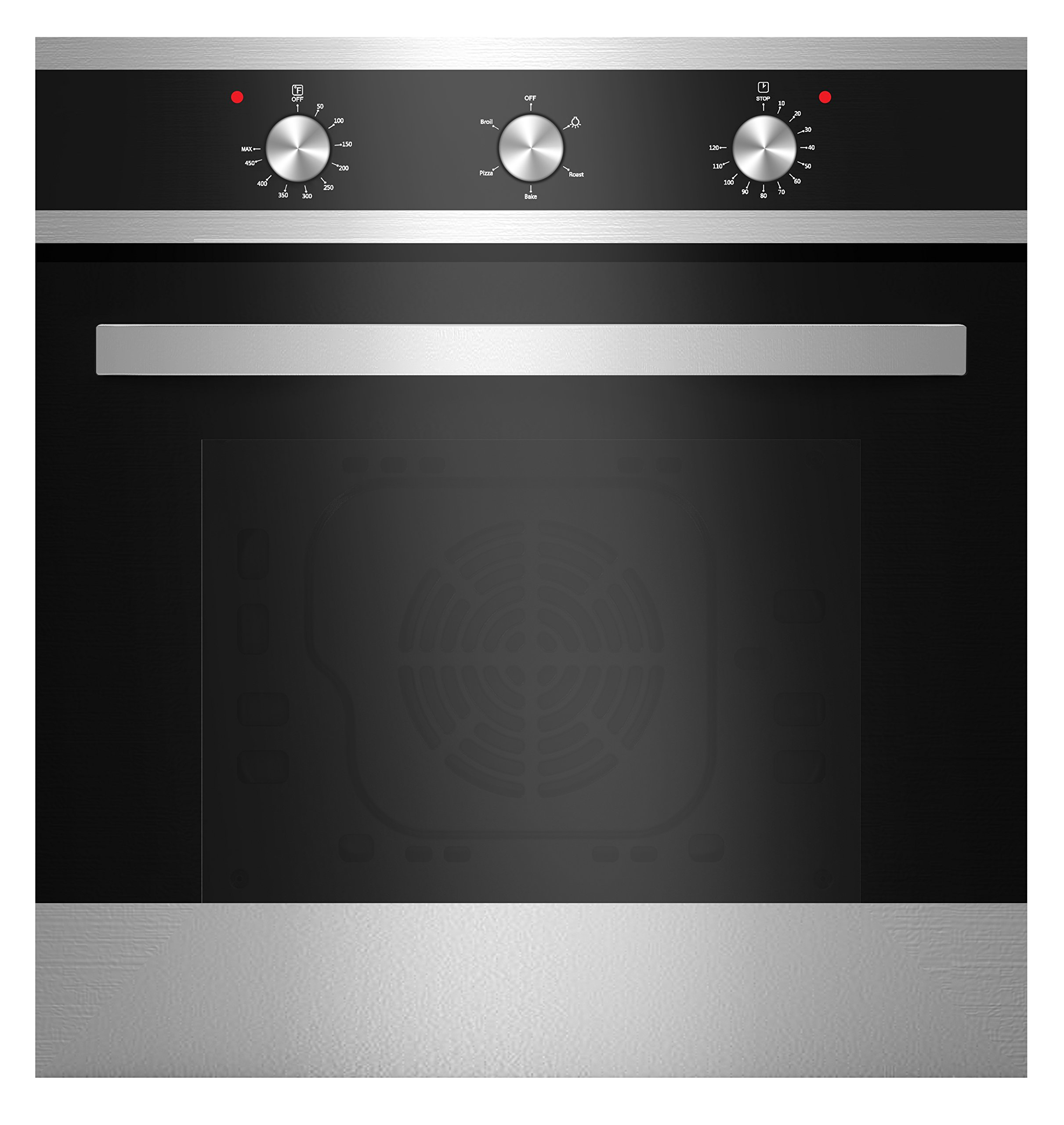 Empava KQP65A-16-220V Tempered Glass Electric Built-In Single Wall Oven, 24'' Black/Silver