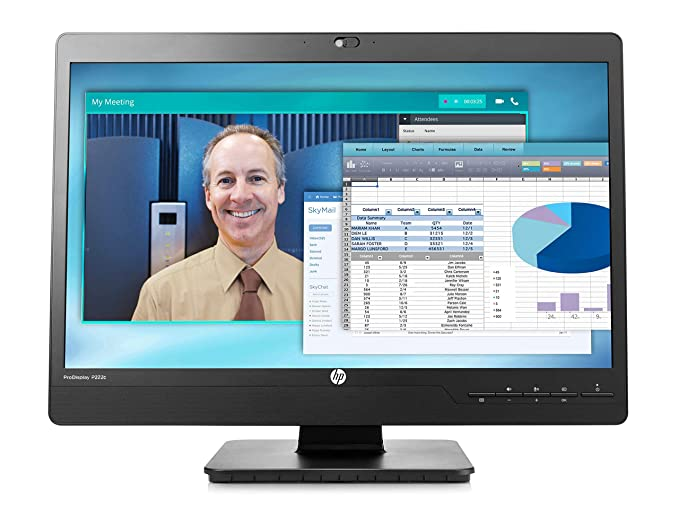 HP ProDisplay P222c 21.5-inch Full HD Video Conferencing Monitor with 720p HD Webcam and Integrated Speakers (Black) Monitors at amazon