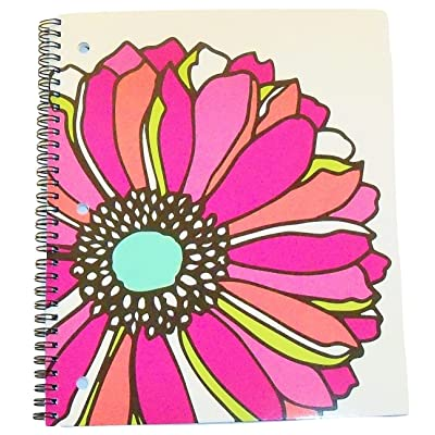 "Carolina Pad Studio C College Ruled Spiral Notebook ~ Whimsical Flower (Large Flower Head on White; 8.5"" x 10.5""; 80 Sheets, 160 Pages): Toys & Games"