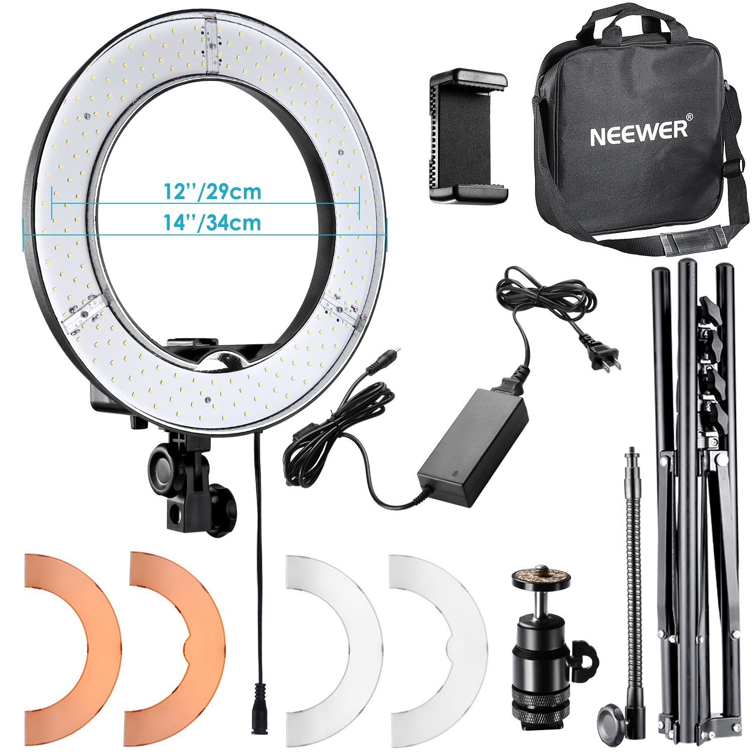 Neewer RL-12 LED Ring Light 14'' outer/12 on Center with Light Stand, Soft Tube, Filter, Bluetooth Receiver for Makeup, Camera/Phone Video Shooting