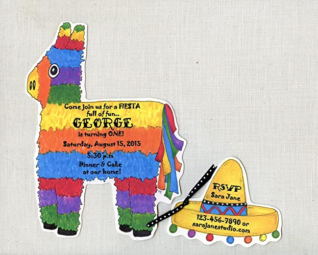 amazon com 10 fiesta pinata birthday party invitations cinco de
