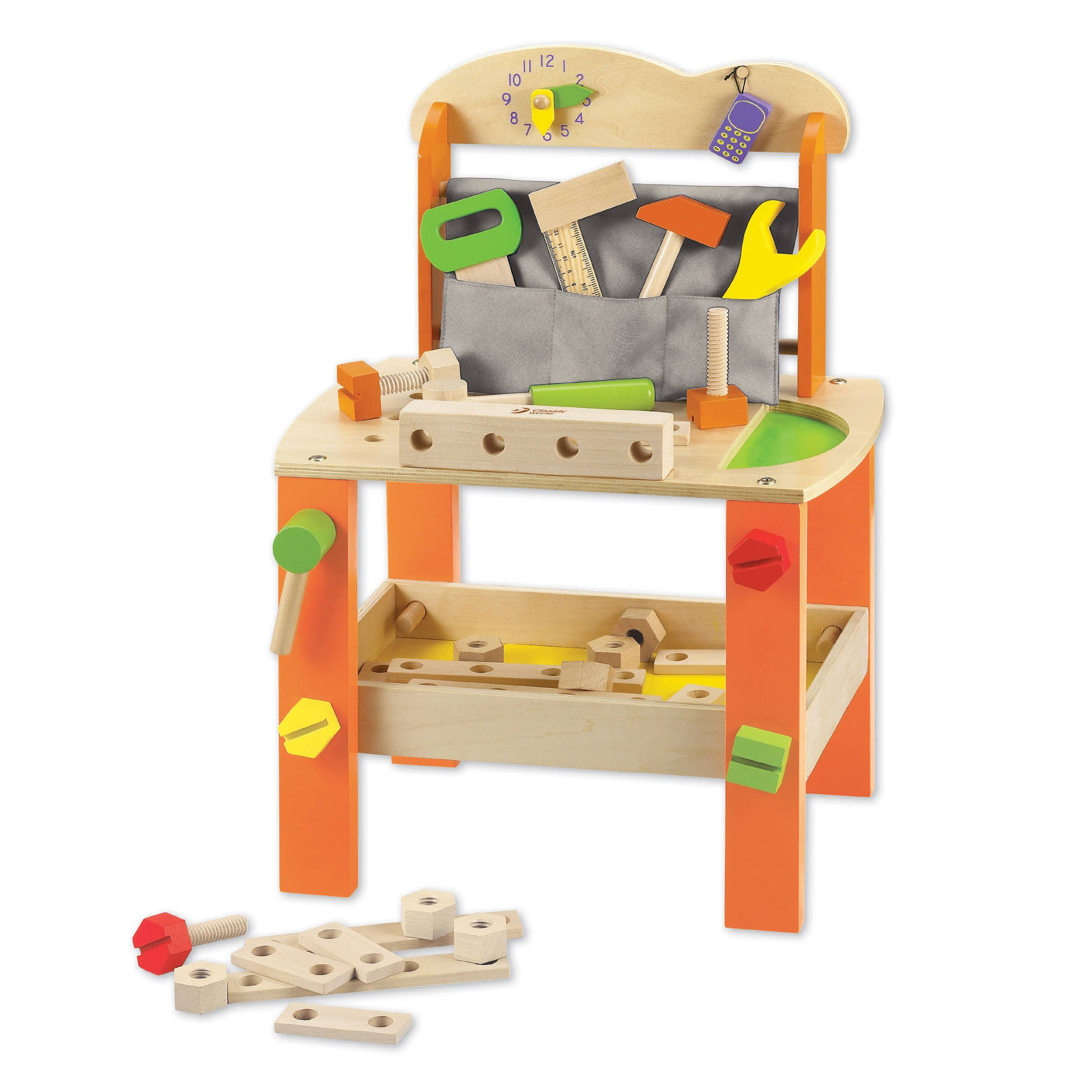 Let's Play Fix It With Solid Wood Project Workbench Kids Pretend Play Building Set, Kids Workbench