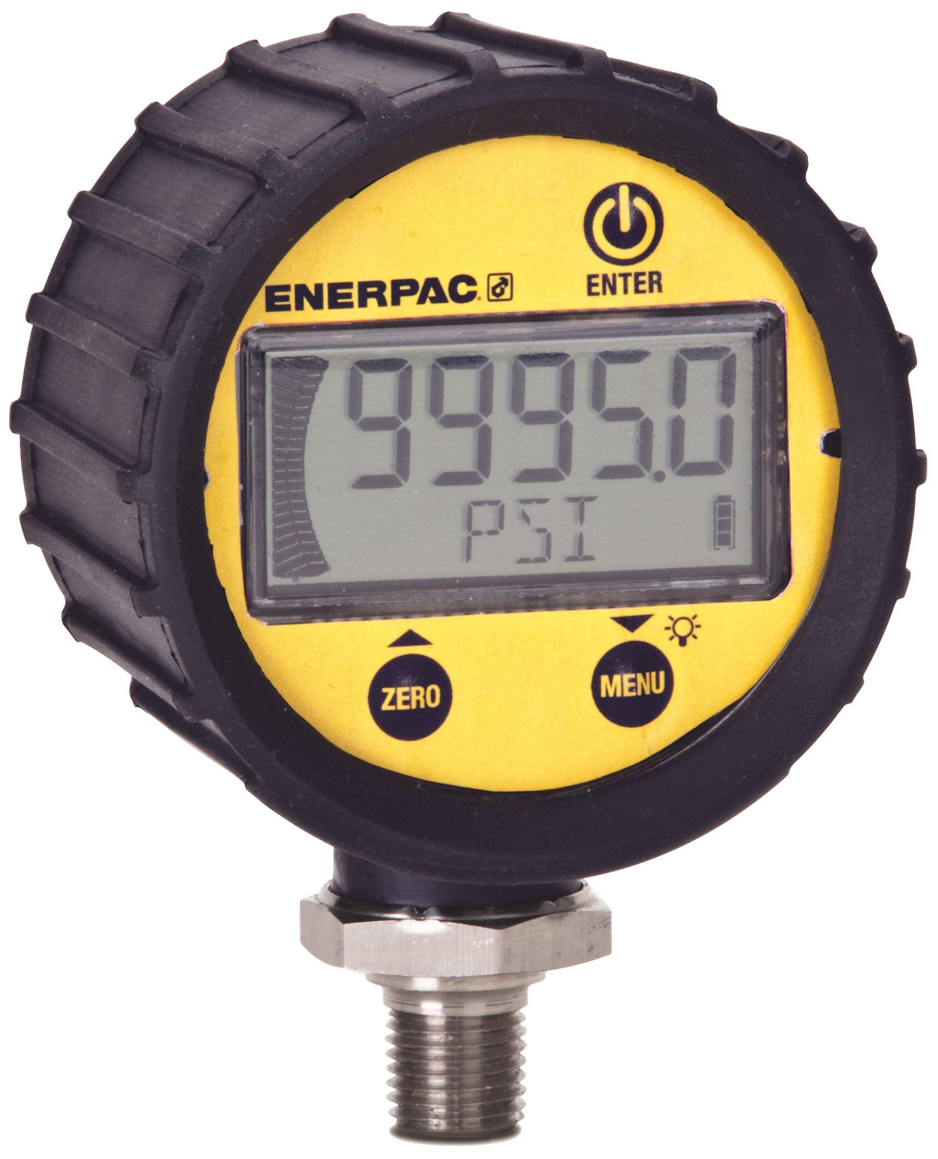 Enerpac DGR-2 Digital Hydraulic Pressure Gauge, 0 to 20,000 PSI, 1/4'' NPTF, Yellow