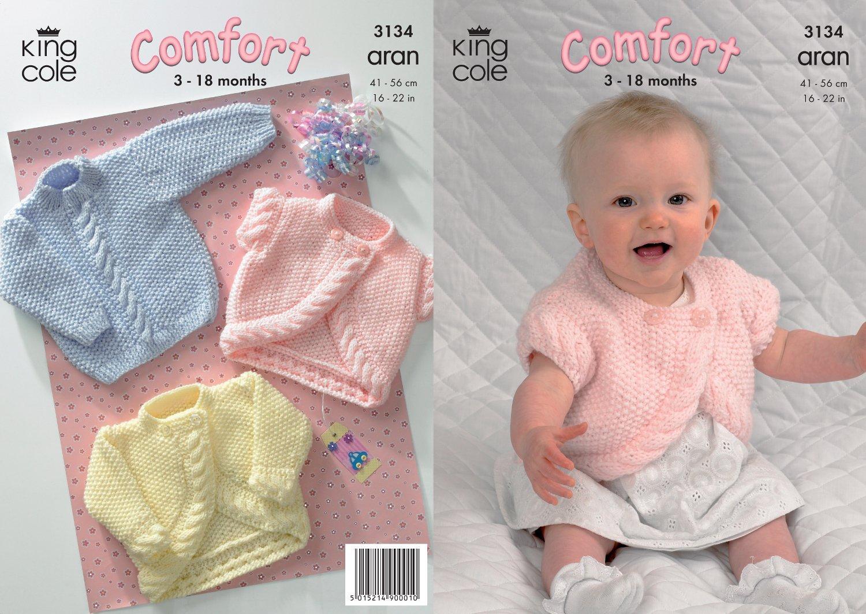 King Cole Tejer patrón Comodidad Aran Chaqueta Bolero /& Suéter de punto bebés 3134