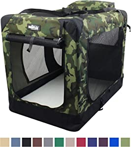 """EliteField 3-Door Folding Soft Dog Crate, Indoor & Outdoor Pet Home, Multiple Sizes and Colors Available (30"""" L x 21"""" W x 24"""" H, Camo)"""