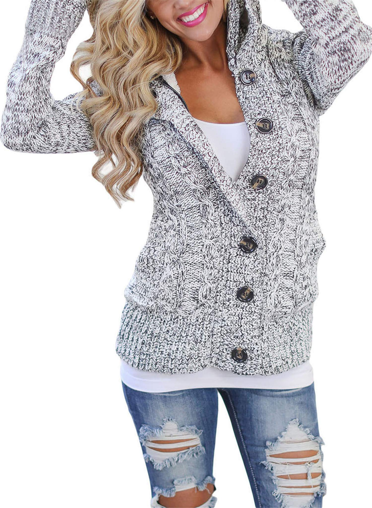 Blibea Womens 2018 Fashion Long Sleeve Hoodie Knit Cardigans Button Down Cable Sweater Coats Outwear Medium Gray by Blibea (Image #2)