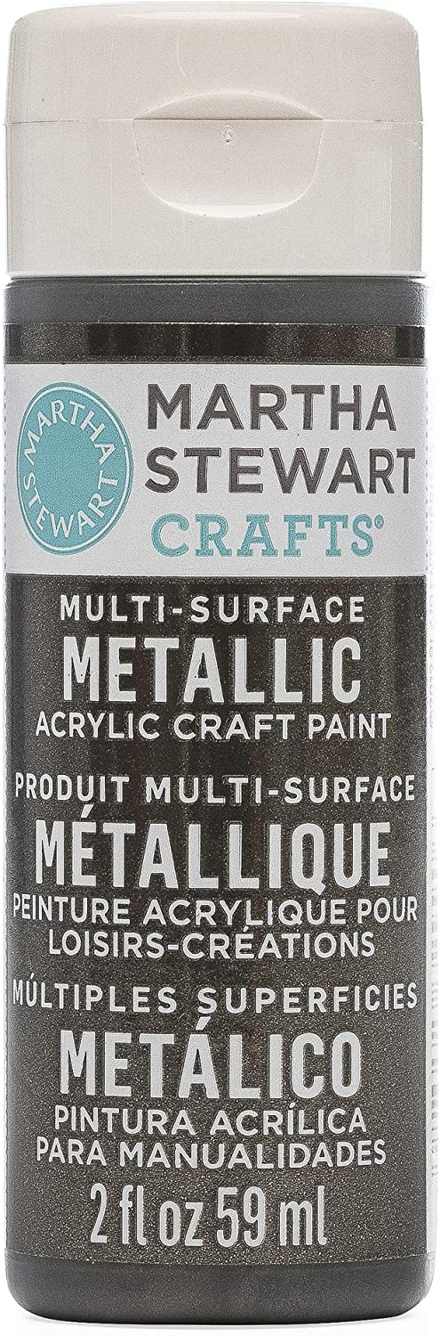 Martha Stewart Crafts Multi-Surface Metallic Acrylic Craft Paint in Assorted Colors (2-Ounce), 32990 Gunmetal