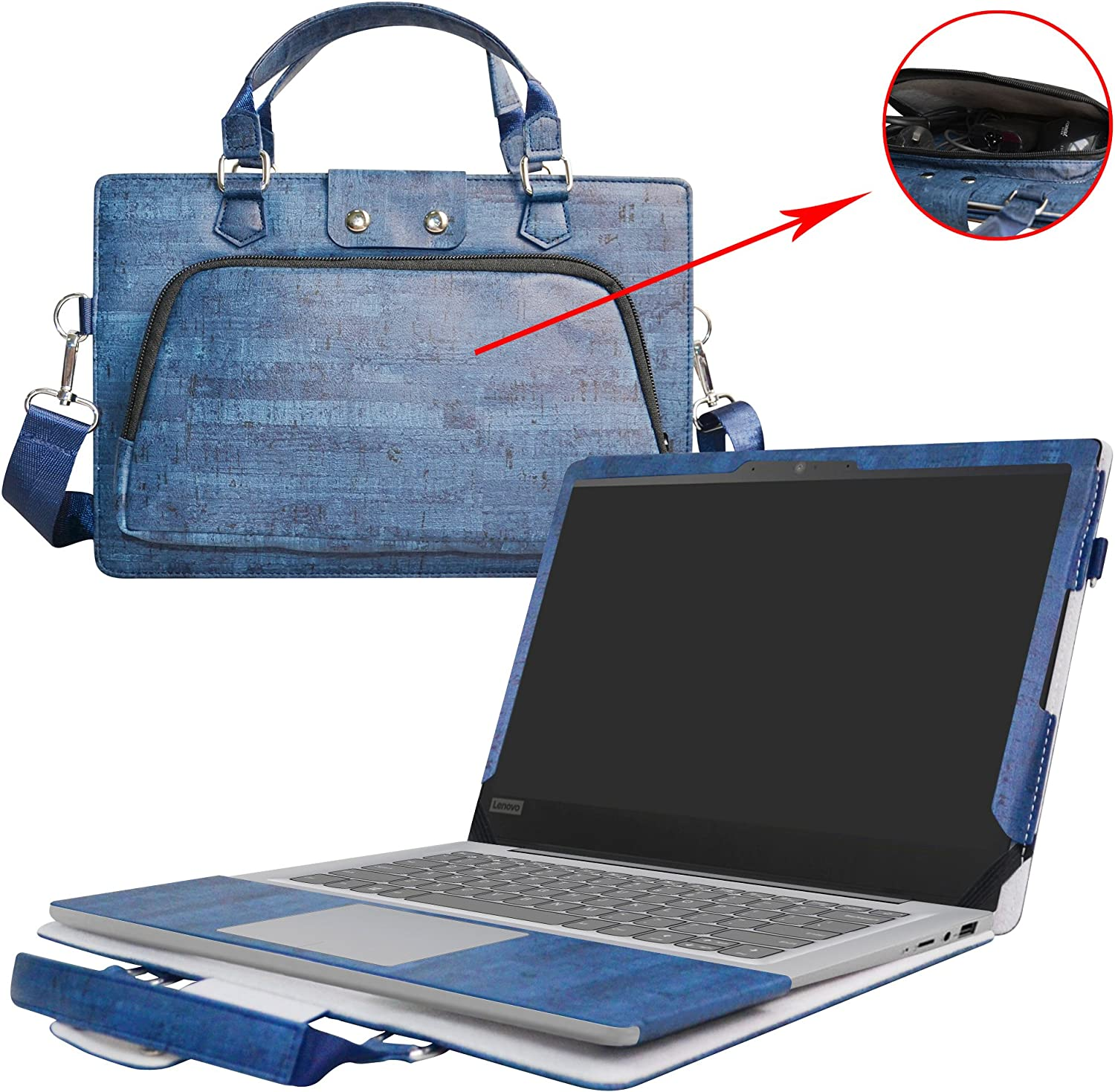 "Lenovo IDEAPAD 110 15 Case,2 in 1 Accurately Designed Protective PU Leather Cover + Portable Carrying Bag for 15.6"" Lenovo IDEAPAD 110 15 Series 110-15IBR 110-15ACL 110-15ISK Laptop,Blue"