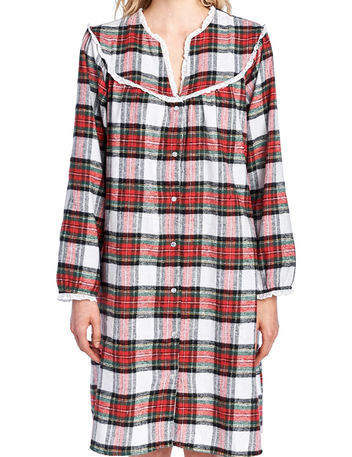 Ashford    Brooks Womens Flannel Plaid Long Sleeve Snap Front Lounge Duster  78269-FD Christmas Holiday 067fe40cd