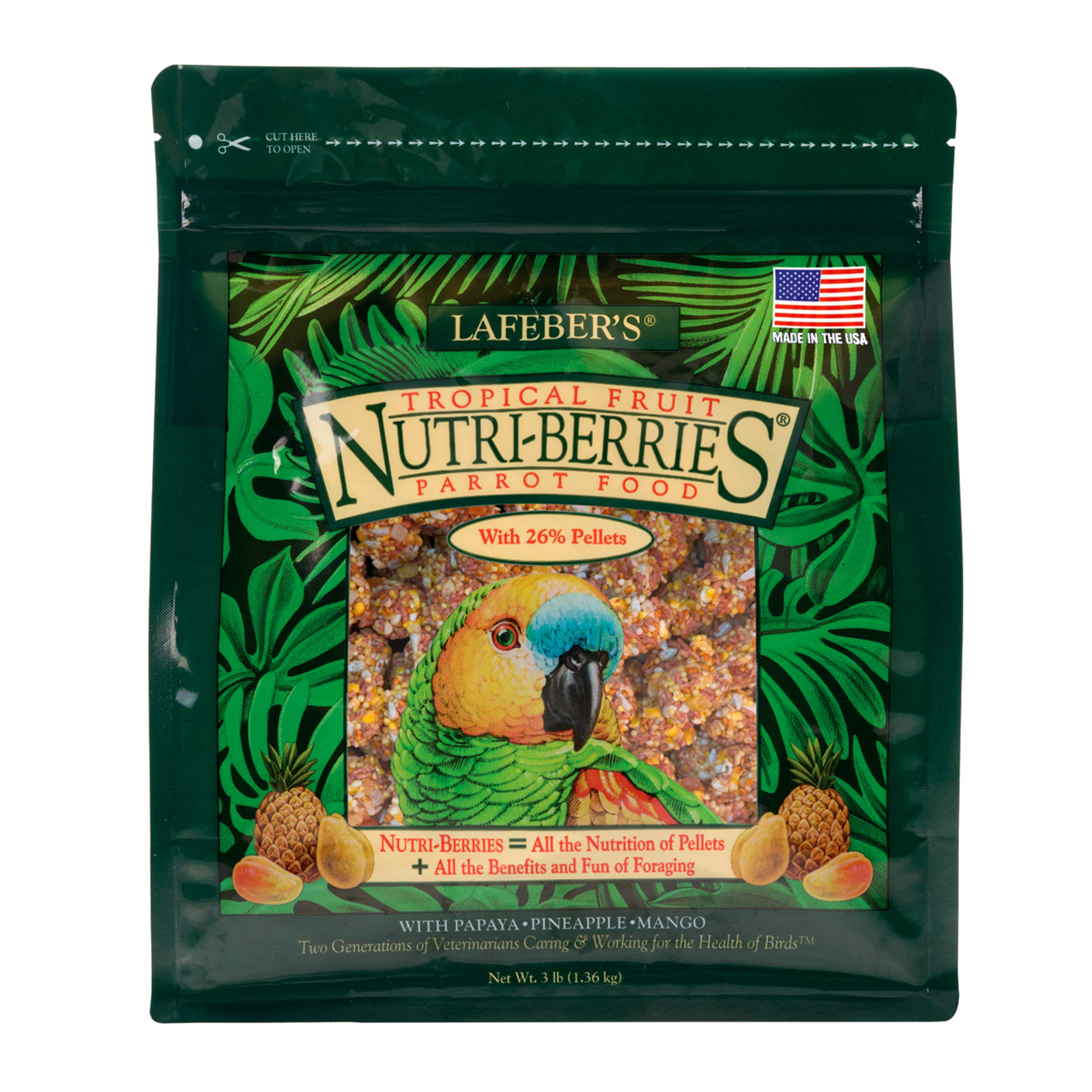 LAFEBER'S Tropical Fruit Nutri-Berries Pet Bird Food, Made with Non-GMO and Human-Grade Ingredients, for Parrots, 3 lb by LAFEBER'S